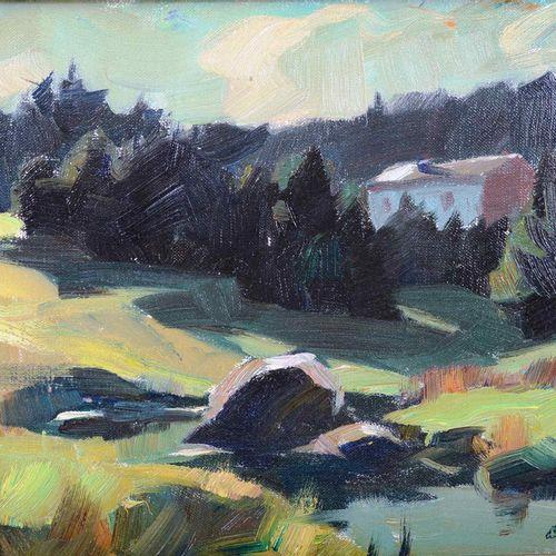 """RATY Albert (1889 1970)  """"Maissin, La Lesse"""" indiqué au dos du châssis et daté 1…"""