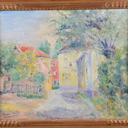 """AEBLY Albert André (1897 1971)  """" Ruelle en été""""  Huile sur toile signée en bas …"""