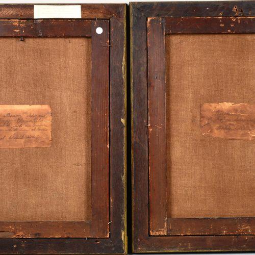 Ecole française XVIIIème, paire de portraits, toiles marouflées sur panneaux, av…