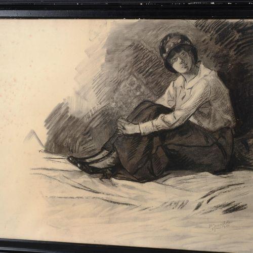 """MARÉCHAL François (1861 1945)  """" Portrait de l'épouse de l'artiste""""  Fusain sign…"""
