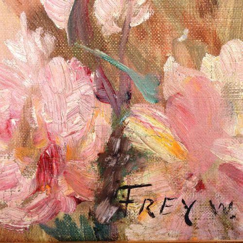 """FREY W.  """" Nu au bouquet """"  Huile sur toile, signée en bas à droite  Dimensions …"""