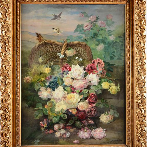 "DEBRUS Alexandre (1843 1905)  "" Nature morte au panier fleuri""  Huile sur toile …"