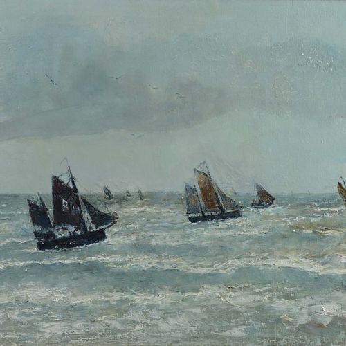 """CLAROT René (1882 1972)  """" Marines""""  Huile sur toile signée en bas à droite.  Di…"""