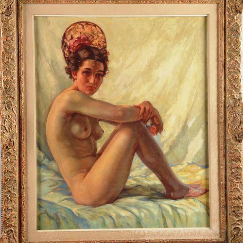"""BISSCHOPS Charles (1894 1975)  """" Nu à la coiffe""""  Huile sur toile signée en bas …"""