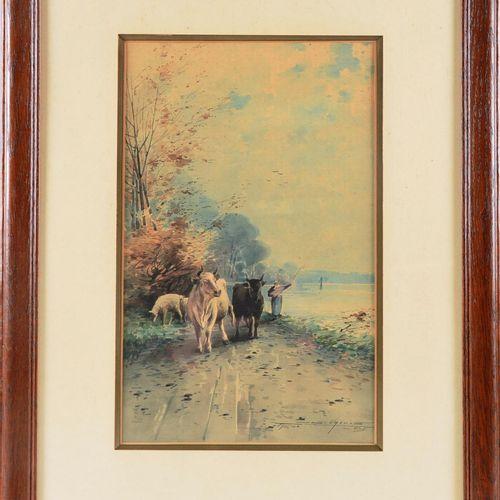 """VREULS, Joseph (1864 1912)  """" Retour à la ferme""""  Aquarelle sur papier signée en…"""