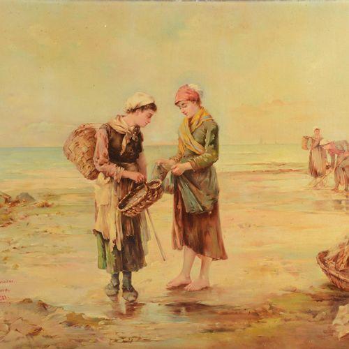 """JUNG Alice (XIX XX)  """" La pêche à la crevette""""  Huile sur toile signée en bas à …"""