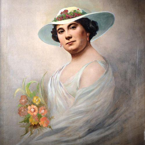"""KEULLER Vital (Lille 1866 Schaerbeek 1945)  """" Portrait d'une élégante au bouquet…"""