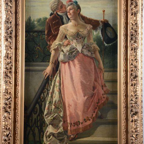 "MEYER Edouard ( 1836 1935?)  "" Promenade galante""  Huile sur toile signée en bas…"