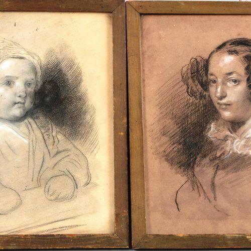 """FRAGONARD Théophile (1806 1876)  """" Paire de dessins au crayon, pierre noire et r…"""