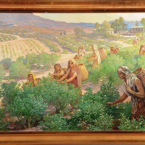 """ASPLUND Nils (1874 1958)  """" La cueilleuse de thé""""  Huile sur toile signée en bas…"""