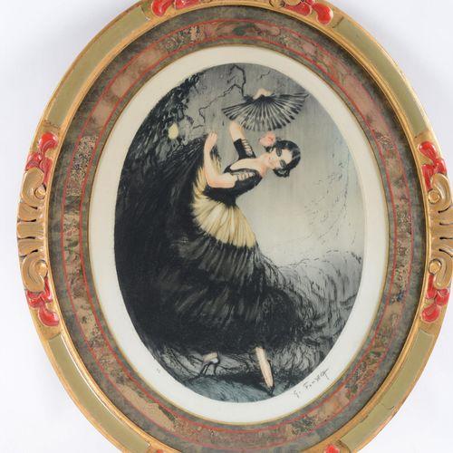 """SIMOES DE FONSECA Gaston (1874 1943)  """"Elegant woman with a fan""""  Aquatint signe…"""