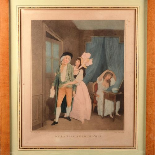 """"""" We shoot it today""""  Polychrome print after BOILLY. Under glass.  Size : 44 cm …"""