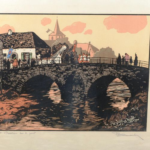 "DUMOULIN Romeo (1883 1944)  ""The procesion on the bridge"".  Etching signed in co…"