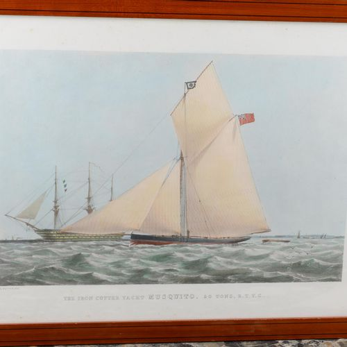 "English print.  ""The iron cutter yacht Musquito, 50 tons, R.T.Y.C.""  Size: 30 cm…"