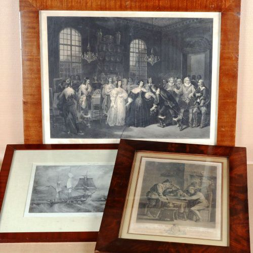 Suite of three Lithographs, engravings and prints.  Mahogany frame.  Dimensions …