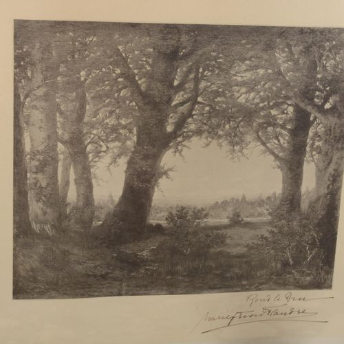 """Print of a landscape """" Rond de Dieu?  Signed lower right of Marie countess of Fl…"""