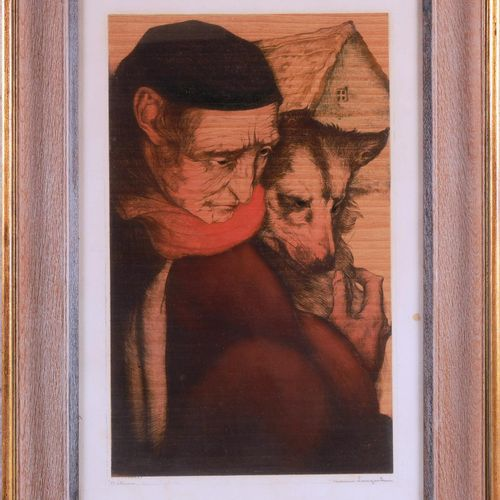 """LANGASKENS Maurice (1884 1946)  """" Détresse""""  Eau forte couleur signée en bas à d…"""