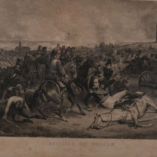 """Battle of Wagram  Print dedicated to the French Armies  Small wetnesses.  Dimen…"