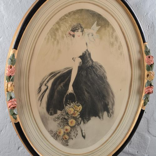 "DEMINNE Maurice (XX)  ""Elegant with doves"".  Oval print raised and signed in pen…"