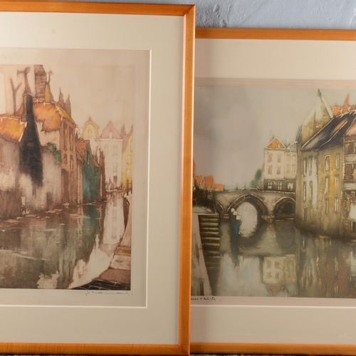 Belgian school of the XX eme century.  Pair of color lithographs signed, one of …