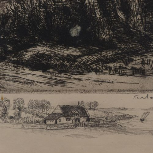 "FRÉLAUT Jean (1879 1954)  ""Landscape"".  Etching, signed and dedicated in pencil.…"