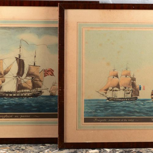 "Pair of English engravings.  ""English Frigate in breakdown"" and ""Frigate salutin…"