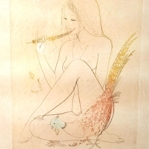 """""""Young girl doing""""  Print signed, numbered 66/80 and dated 1978.  Size : 29,5 cm…"""