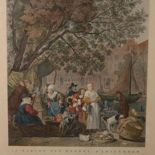 """""""The Herb Market of Amsterdam""""  Multicolored print, 19th century.  Size : 49 cm …"""