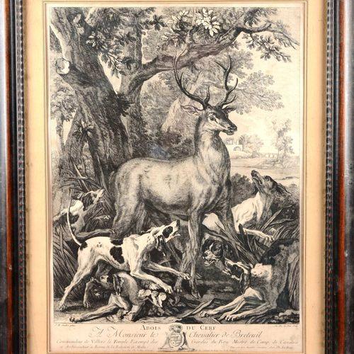 """""""Abois du Cerf, A Monsieur de Breteuil""""  Engraving after OUDRY J.B.  Under glass…"""