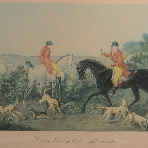 Pair of framed English lithographs, engravings and prints.   Dogs having lost ri…