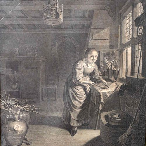 """La Ménagère Nort Hollandoise""  Crumpled and mottled print. Without glass.  Size…"