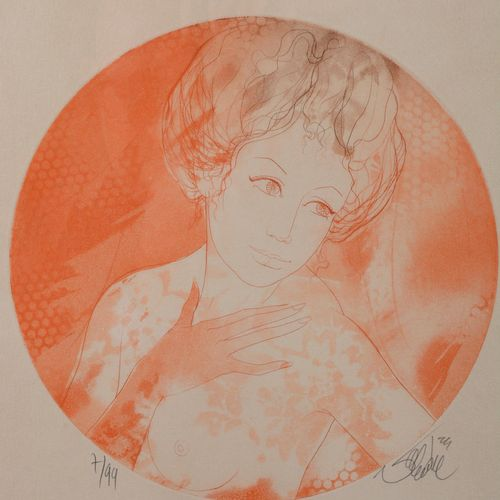 """Oval print in red chalk signed and numbered 7/99.  """"Young girl with naked breast…"""