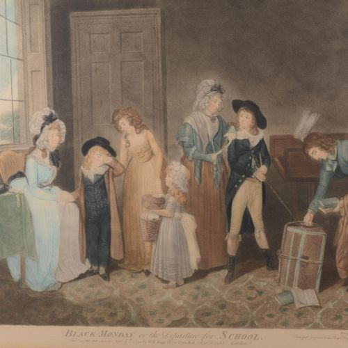 "Enhanced print ""Black Monday or the departure for school""  Engraved by John Jone…"