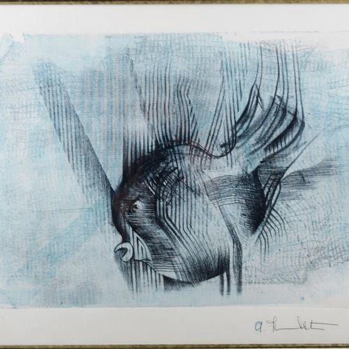 "HUMBLET A.  ""Sunfish"".  Print signed.  Size : 32 cm x 45 cm"