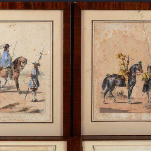Suite of four (4) enhanced lithographs engraved by G.David after D.De Noirmont, …