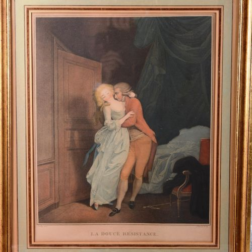 """"""" The sweet resistance""""  Polychrome print after BOILLY. Under glass.  Size : 45 …"""