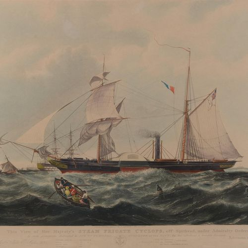 """English print.  """"This view of her majesty's Steam Frigate Cyclops,...""""  Size : 3…"""