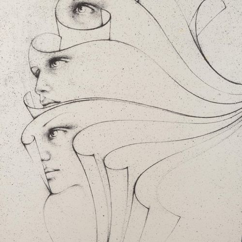 """MARA Pol (1920 1998)  """"Multiple faces"""".  Lithograph signed and numbered 287/300 …"""