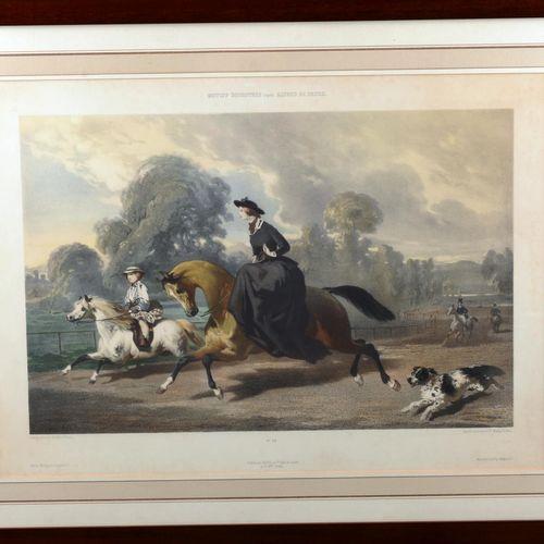 Equestrian motifs after Alfred de Dreux.  Polychrome print by Goupil, Paris & Lo…
