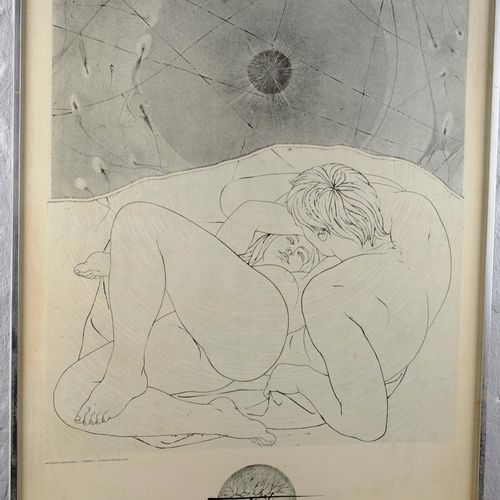"TREMOIS Pierre Yves (1921 2020)  ""The couple with cells"".  Art poster framed.  D…"