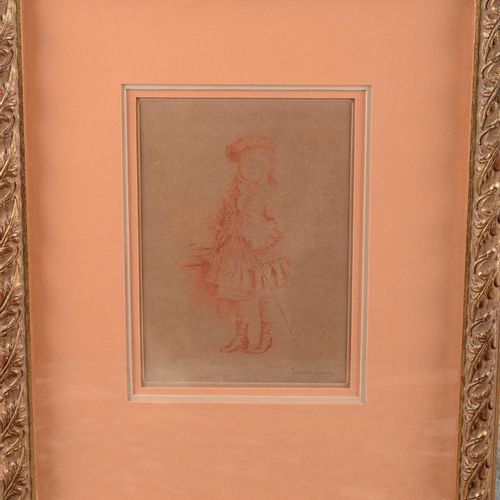 """DANSE Louise (1865 1948)  """"Young girl with a stick"""".  Sanguine print signed lowe…"""