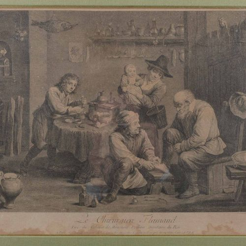 """The Flemish Surgeon""  Print after Teniers.  Traces of wetness.  Size : 32 cm x …"