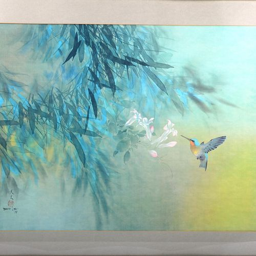 """David LEE (1944)  """"The Hummingbird""""  Oil on fabric signed lower left and dated 7…"""
