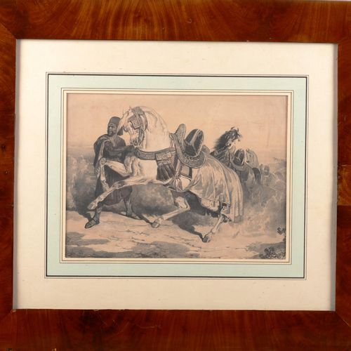 "VERNET Carle after  ""Arabian horse"".  Print framed and under glass.  Sight : 23,…"