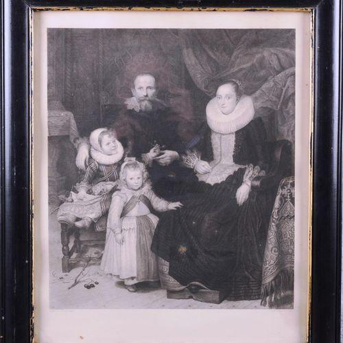 """After Cornelis de Vos.  """"Family Portrait""""  Lithograph.  Size : 41 cm x 36 cm"""