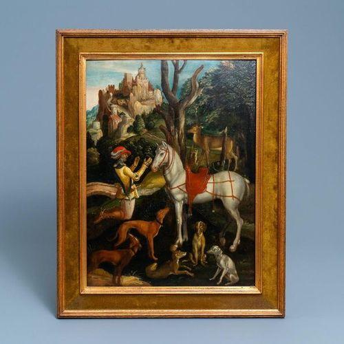 Ecole flamande d'après Albrecht Dürer, 16/17ème, huile sur panneau: Saint Eustac…