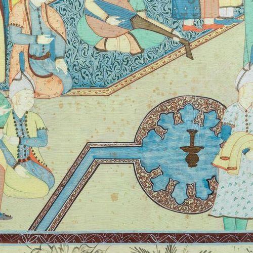 Ecole safavide, Iran, 19/20ème, huile et encre sur toile: 'Une vue d'une cérémon…