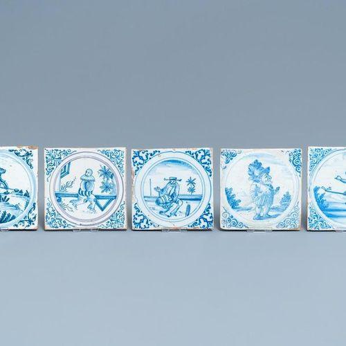 Quinze carreaux en bleu, blanc et manganèse en faïence de Montpellier, France, 1…