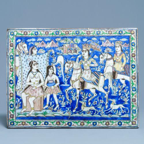 Un grand carreau de forme rectangulaire à décor d'un prince sur cheval, art qaja…