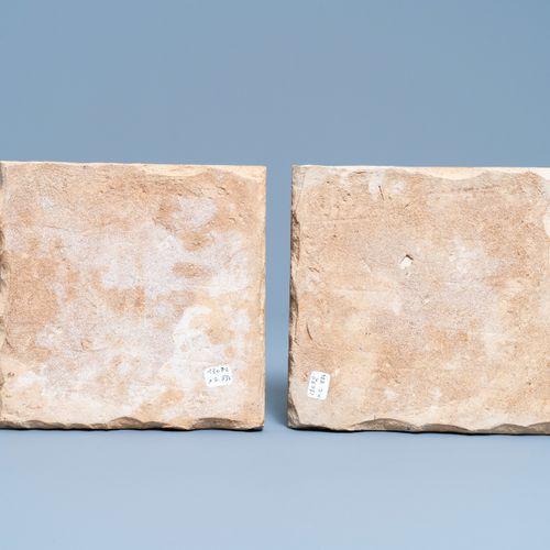 Deux carreaux 'cuerda seca' de style Safavid, Iran, art qajar, 19ème Two Qajar c…